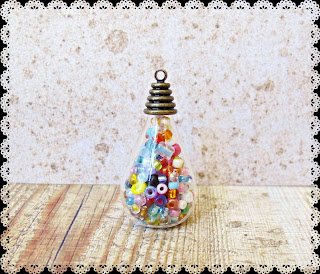 image diy miniature christmas bauble ornament tutorial beaded make sure bead cap is straight on the bottle leave glue to dry