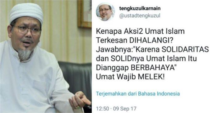 Ust. Tengku: Kenapa Aksi Umat Islam Dihalangi? Karena Solidaritas dan Solidnya Umat Islam Berbahaya!