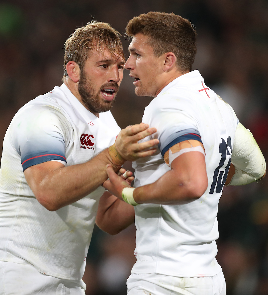 Chris Robshaw of England with Henry Slade of England