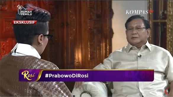 Ditanya Rosi di KompasTV Pandangan Tentang Islam, Jawaban Prabowo Mengejutkan