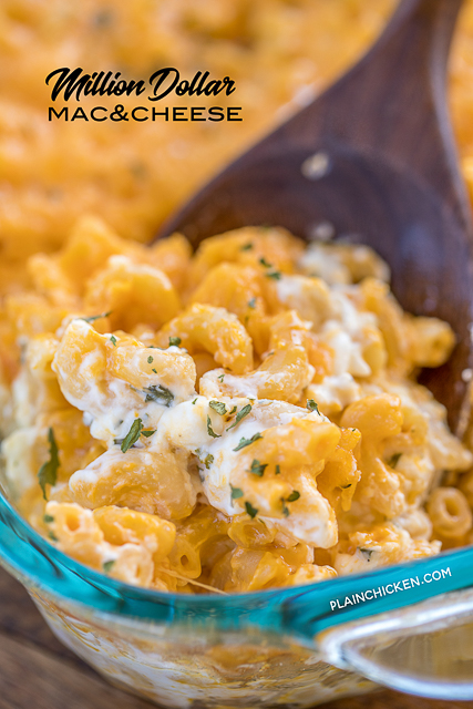 Million Dollar Mac & Cheese - the creamiest and dreamiest mac and cheese EVERRRR!!! This is the most requested mac and cheese in our house. Macaroni, cheese sauce, cottage cheese, sour cream, cream cheese, cheddar cheese. Great for potlucks and cookouts! Can make ahead and refrigerate for later. YUM! #macandcheese #casserole #cheese #pasta #sidedish