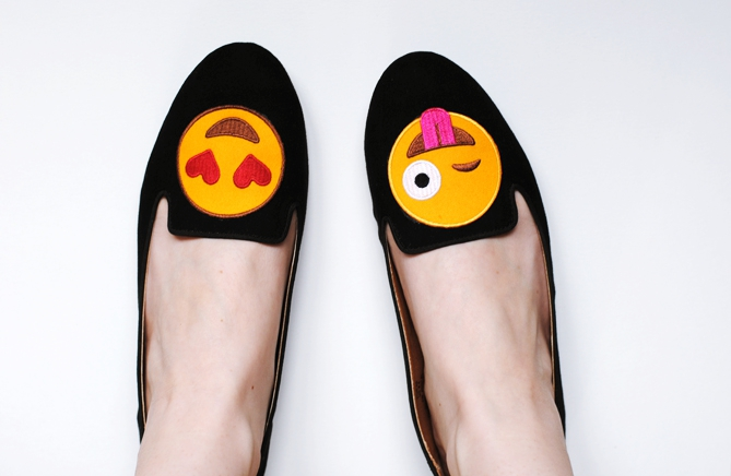 DIY Smiley Patch Loafers