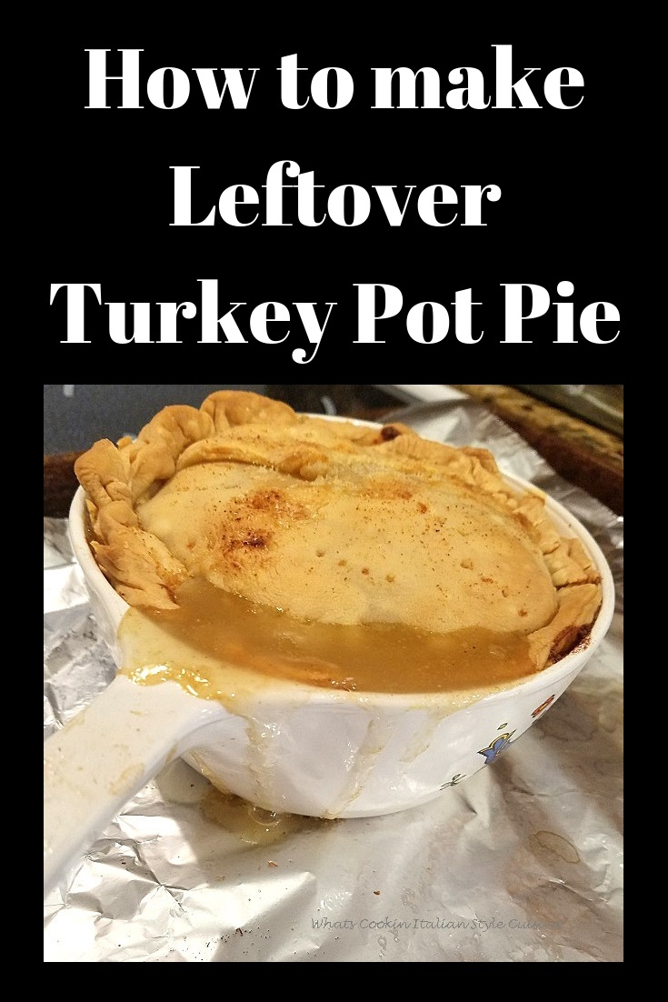 this is a pot pie for one person in a small casserole corning ware dish with leftover turkey, carrots, peas, corn and potatoes with gravy and pie crust.