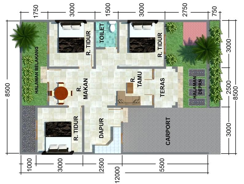 denah rumah minimalis ukuran 6x8m 3 kamar 1