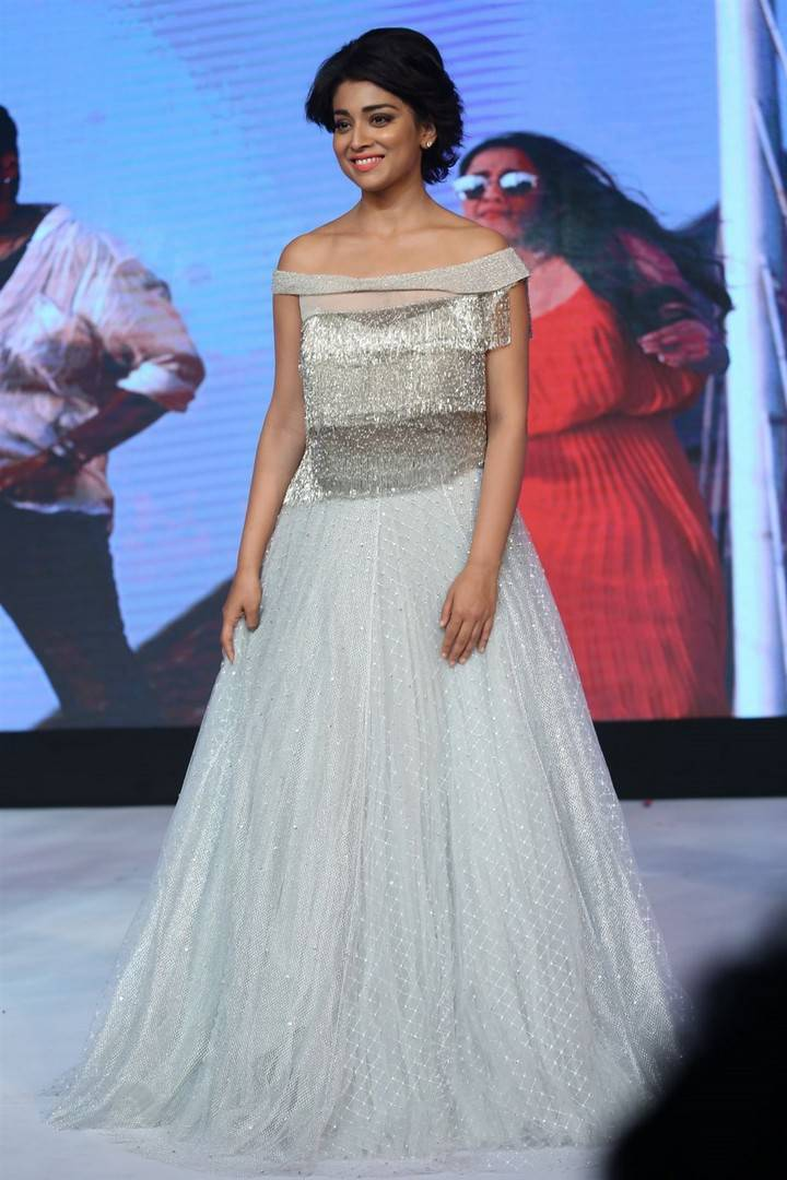 Shriya Saran Stills At Nakshatram Movie Audio Launch In White Dress