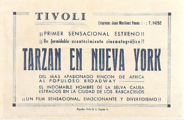 Programa de Cine - Tarzán en Nueva York - Johnny Weissmuller - Maureen O'Sullivan