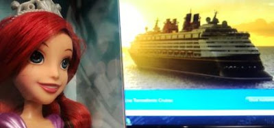 Ariel Doll looking on at Disney Cruise Line on pc screen