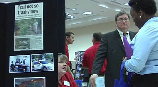 Angelina County Probation participated in the 2011 Criminal Justice Job Fair. Director Rodney Thompson (r) speaks to a prospective employee.