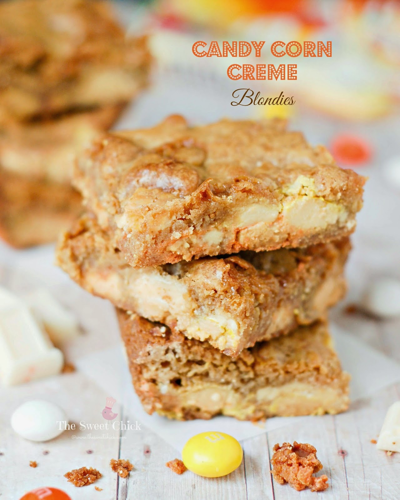 Candy Corn Creme Blondies by The Sweet Chick