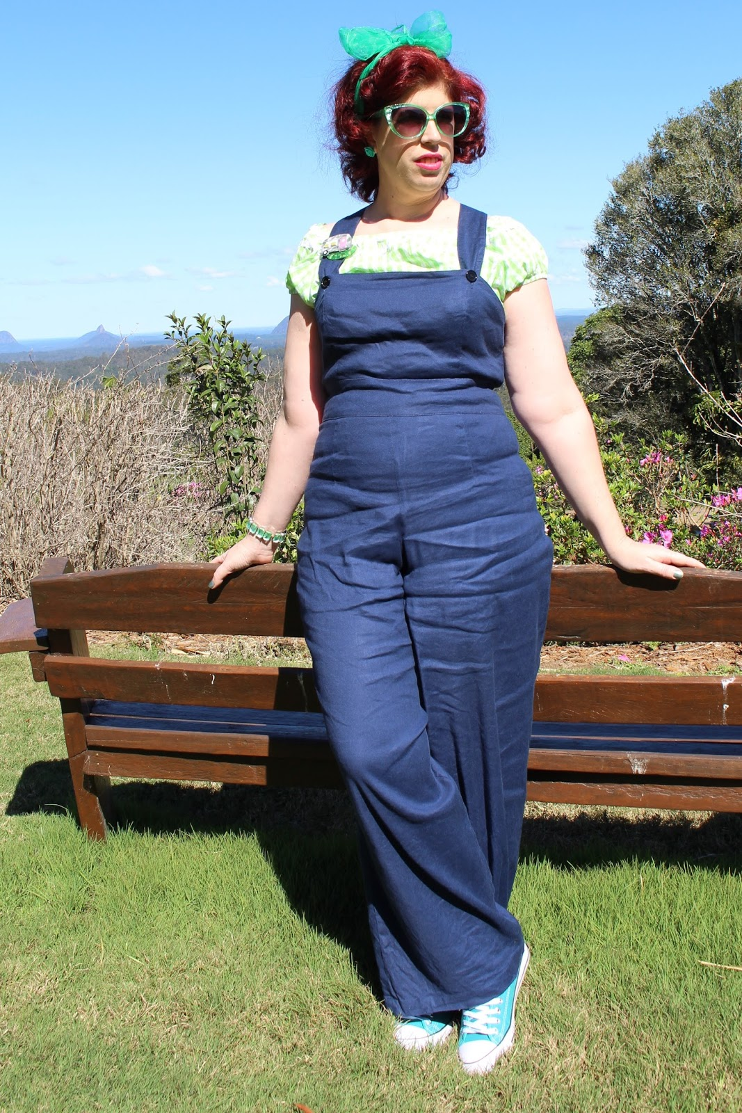 d38bbd1744 The blouse I'm wearing with my dungarees is the Caterina Green Gingham top  by Lindybop This top has Ric-rac detailing along the bottom and top, ...