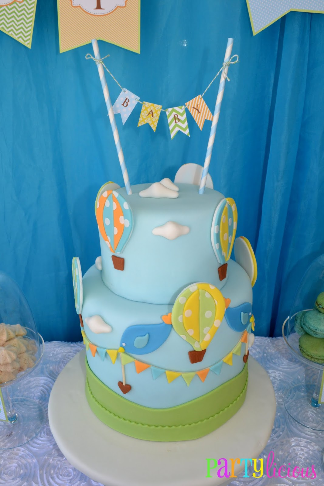 Hot Air Balloon Sugar Cake Topper Decoration