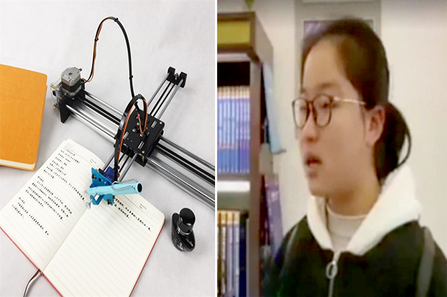 Chinese schoolgirl shamed for the use of robots to write down homework. Now all people needs one