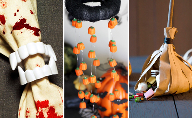 vampire napkin ring candy pumpkin chandelier witchs broom candy holder