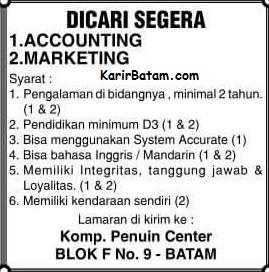 Lowongan Kerja Accounting dan Marketing