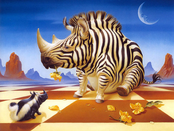 Zebra y rinoceronte