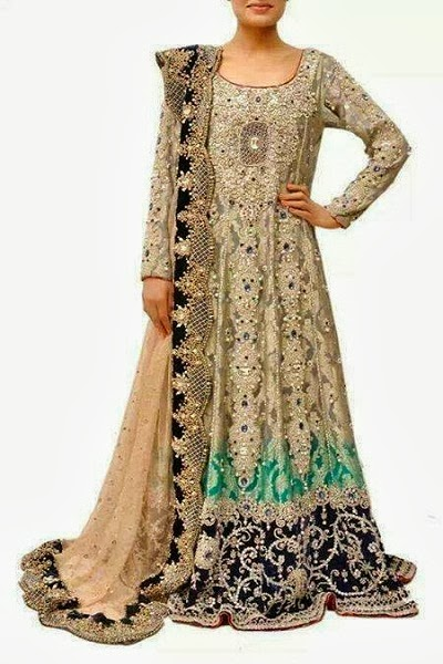 Pakistani Bridal Dresses 2014 For Walima In Red And White For Barat