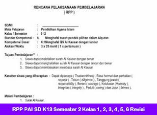 RPP PAI SD K13 Semester 2 Kelas 1, 2, 3, 4, 5, 6 Revisi