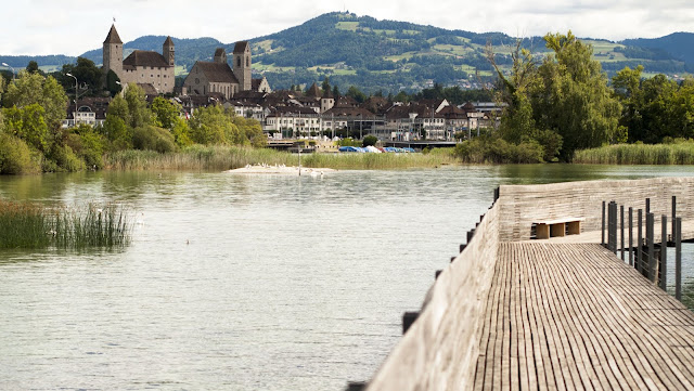 Rapperswil viewed from the wooden boardwalk on a half-day trip from Zurich