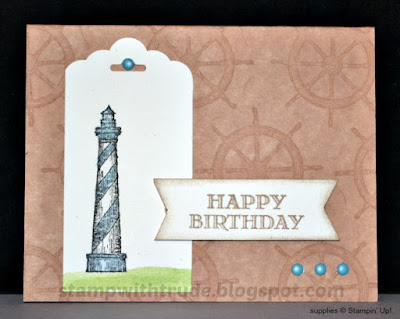 From Land to Sea, Stampin' Up!, masculine, birthday card, Stamp with Trude, lighthouse