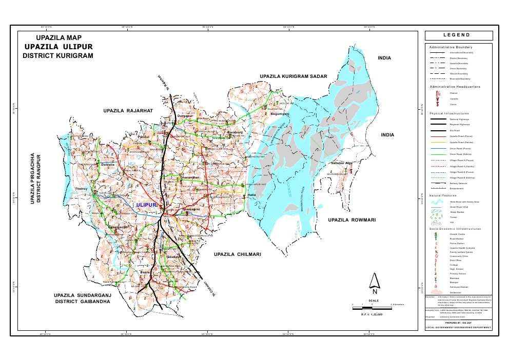 Ulipur Upazila Map Kurigram District Bangladesh