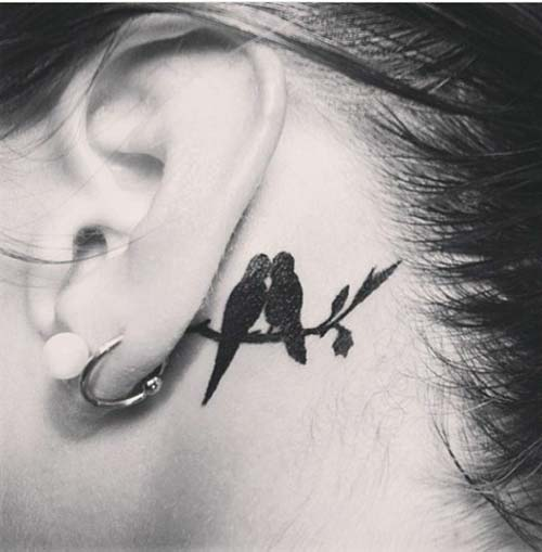 loved birds tattoo behind ear kulak arkası sevgili kuş dövmesi
