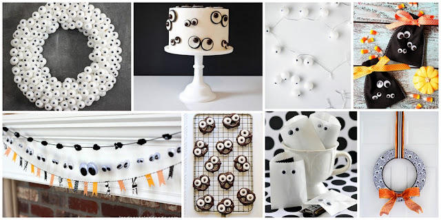 A collection of googly eye Halloween DIY decorations and recipes