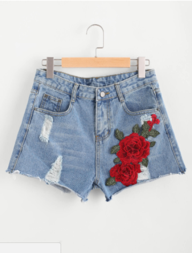 3D Applique Ripped Frayed Hem Denim Shorts