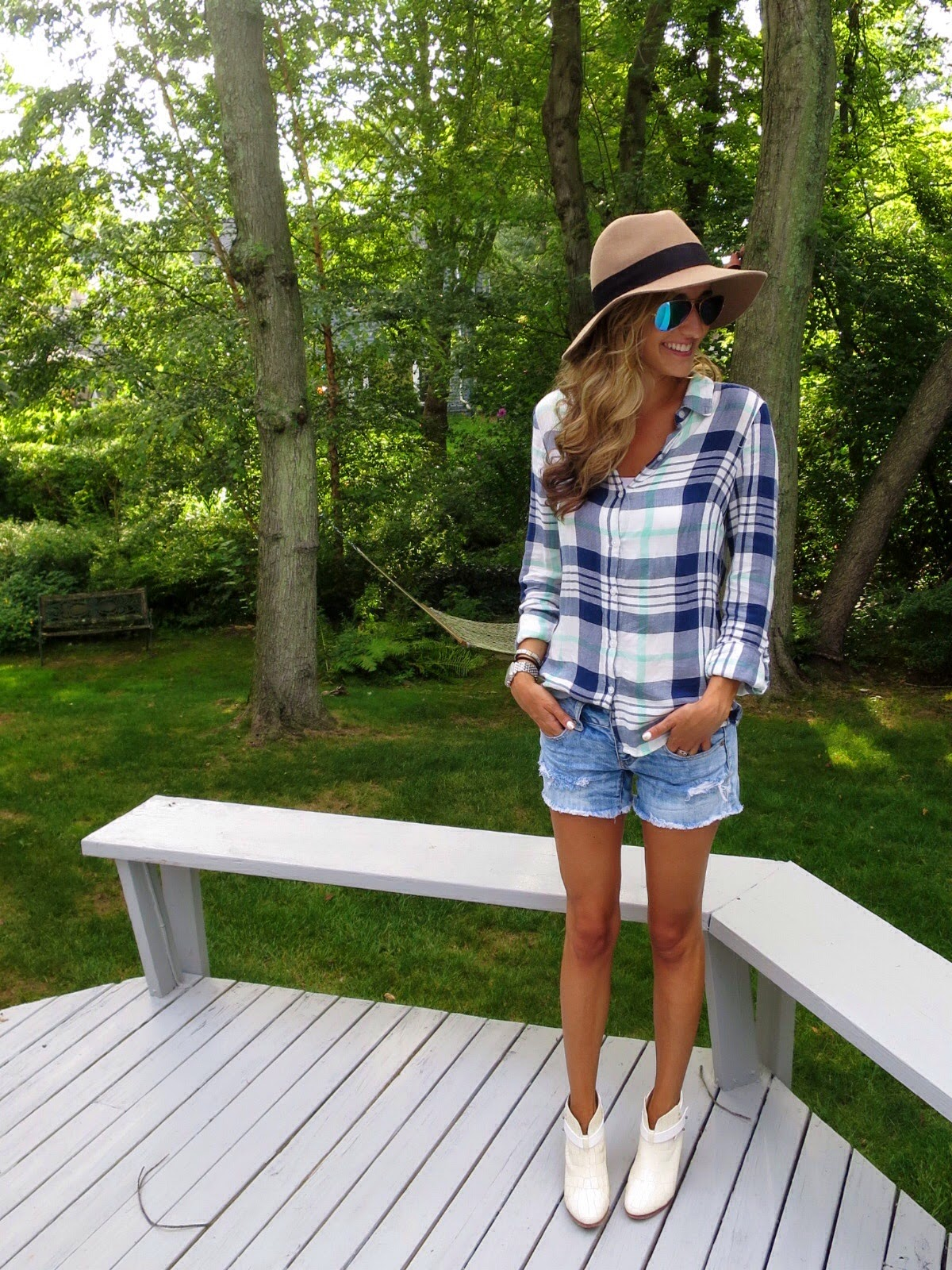 plaid top & denim shorts