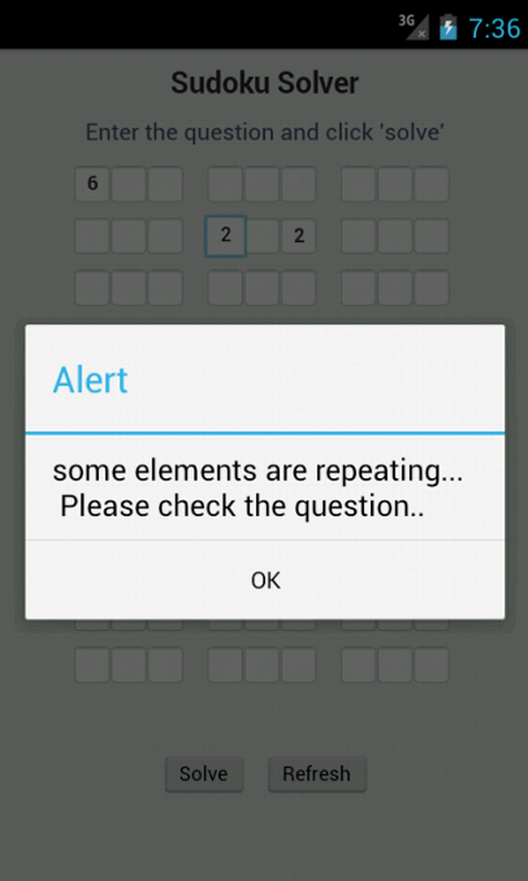 Sudoku Solver. Display incorrect question. Solve any kind of Sudoku