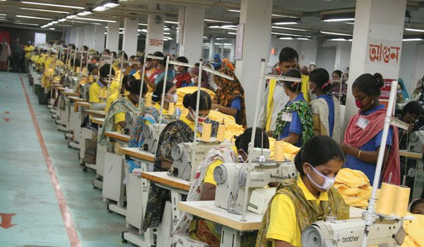 Sewing line in apparel industry