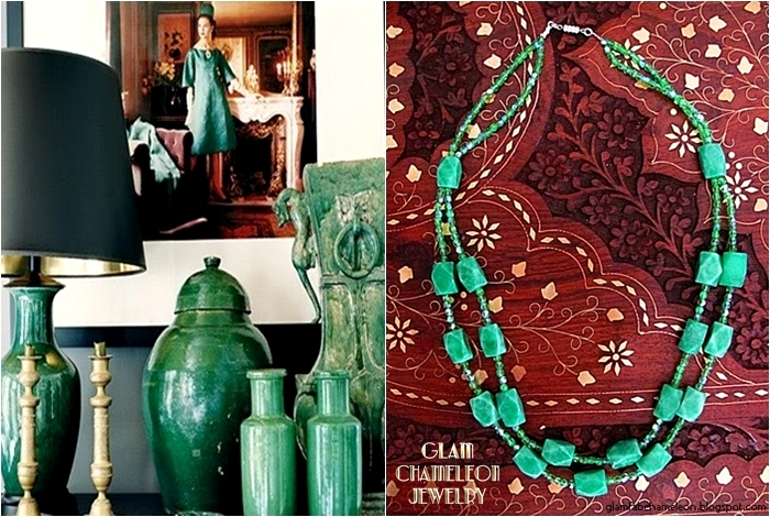 Glam Chameleon Jewelry chrysoprase and green beads two layer necklace