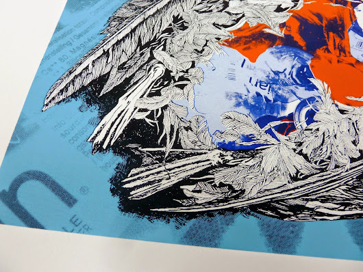 PHOTOS OF NEW FINISHED SCREEN PRINT 'DEATH BY PLASTIC'