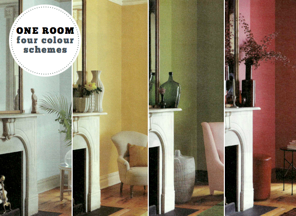 One Room Four Different Colour Schemes Bright Bazaar By Will Taylor
