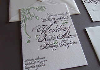 artistic letterpress wedding invitation card