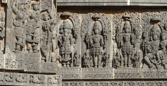 Brahma, Shiva, Vishnu and Shiva-Parvathi on the walls of Hoysaleswara temple, Halebid