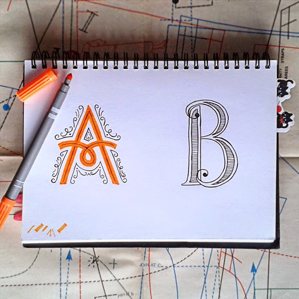 Happiness is... Monthly Instagram Doodle Projects - hand lettering and hand drawn type