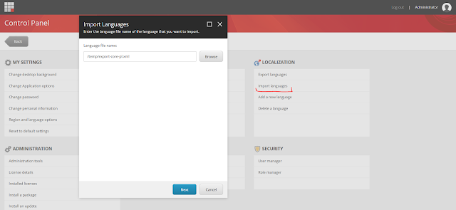 Sitecore - Control Panel - Import languages