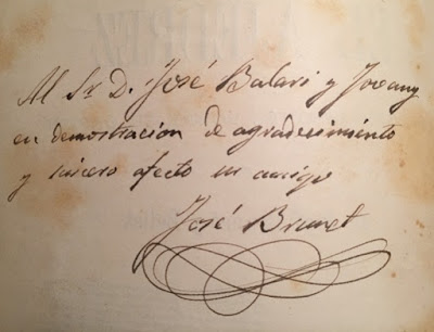 Dedicatoria con firma de Josep Brunet i Bellet a Balari