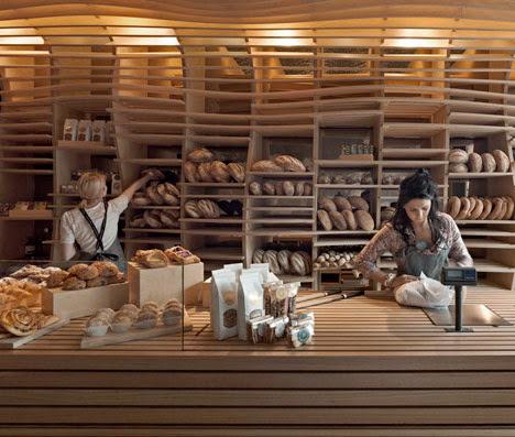 wavy slats structure wall bakery
