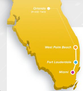 Mapa de Ruta del Tren Brightline en Florida