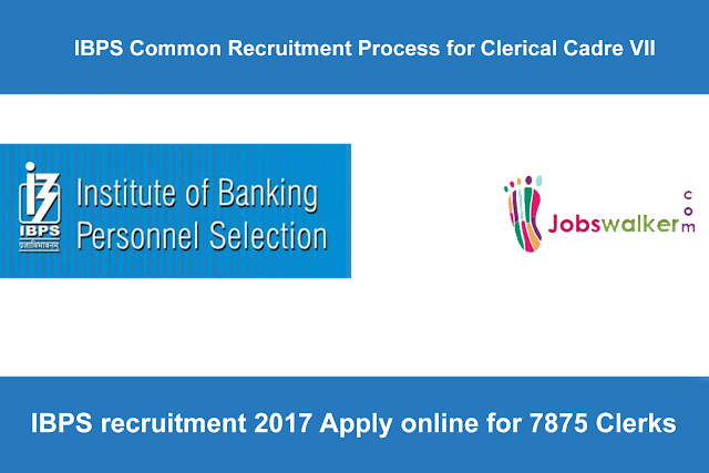 IBPS notification 2017 recruitment Apply online for 7875 Clerks-VII at www.ibps.in
