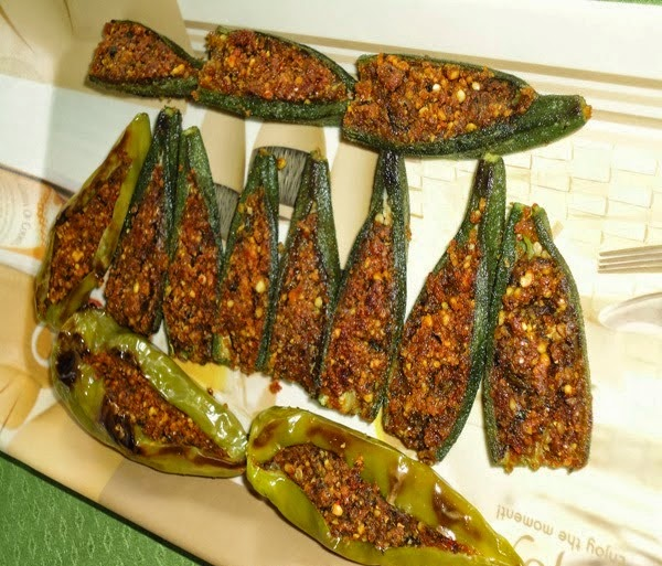 prepared bharli bhindi and bharli mirchi
