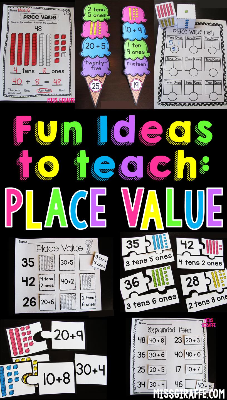 Miss Giraffe's Class: Place Value in First Grade [ 1440 x 816 Pixel ]
