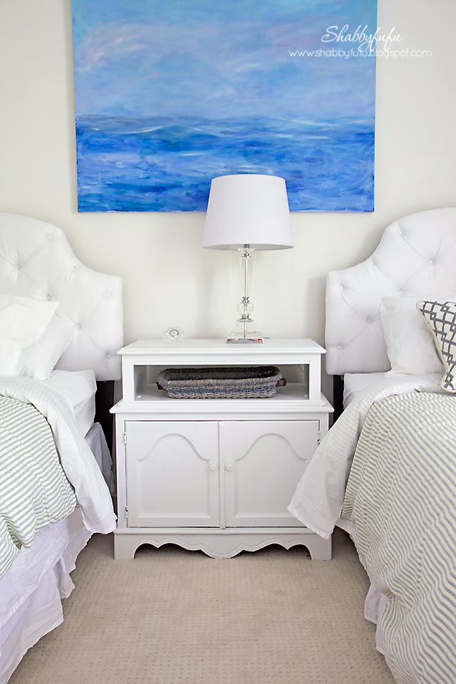 guest bedroom transformation - a preview of the artwork in our guest bedroom; a pastel blue and pink painting of the seashore line