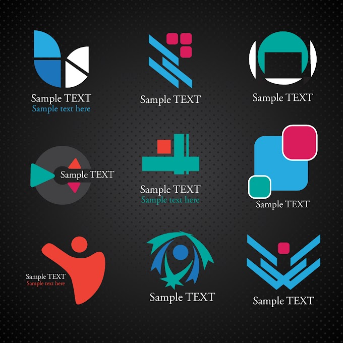Logos illustration with various shapes on dark background Free vector