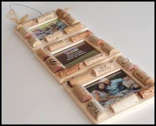portaretratos hecho con corchos reciclados