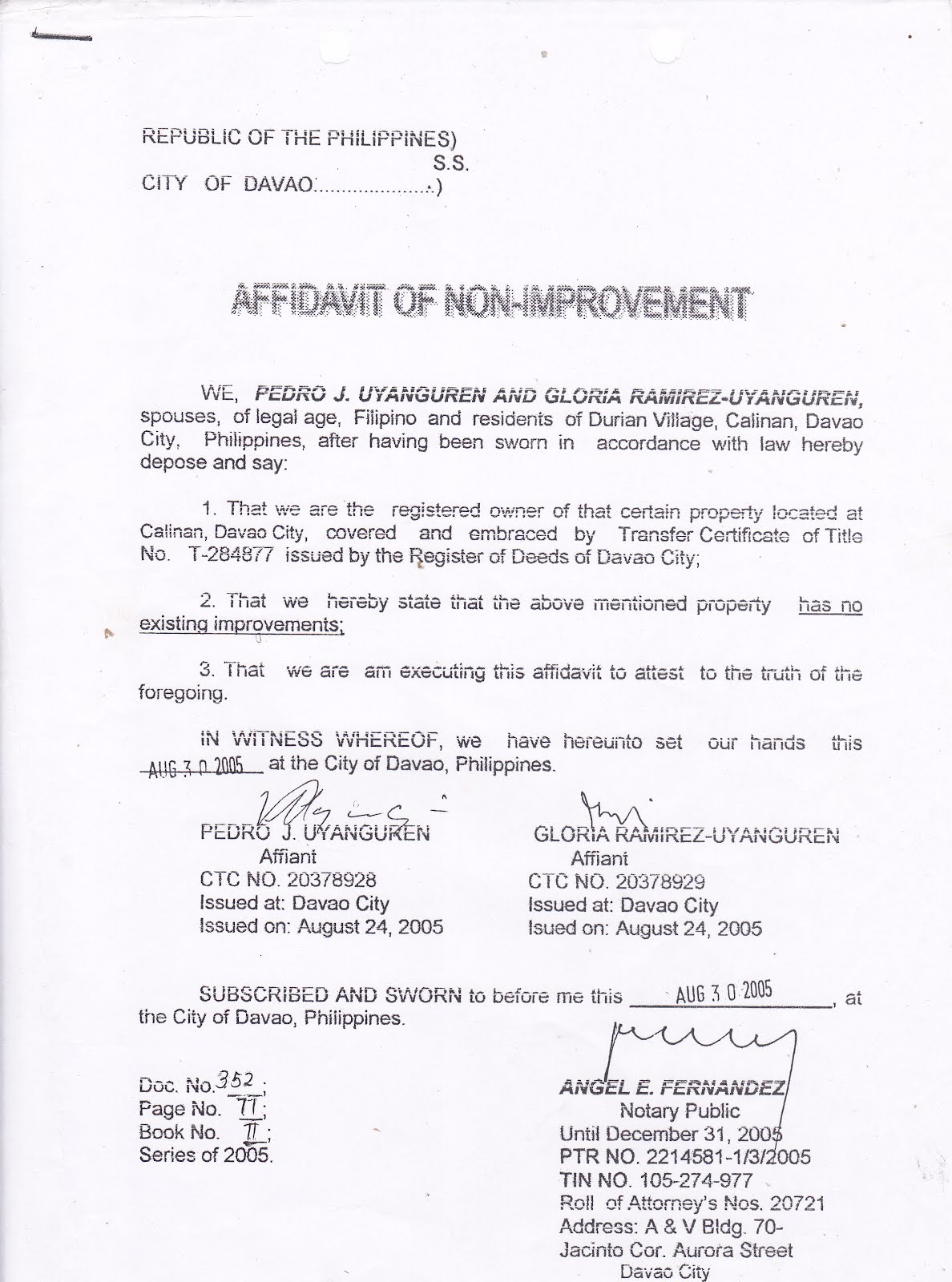 Affidavit of No Improvement | Format-Documents Used in