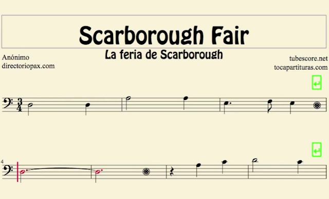 10 Partituras Populares Tradicionales  10º LA Feria de Scarborough The Scarborough Fair sheet music