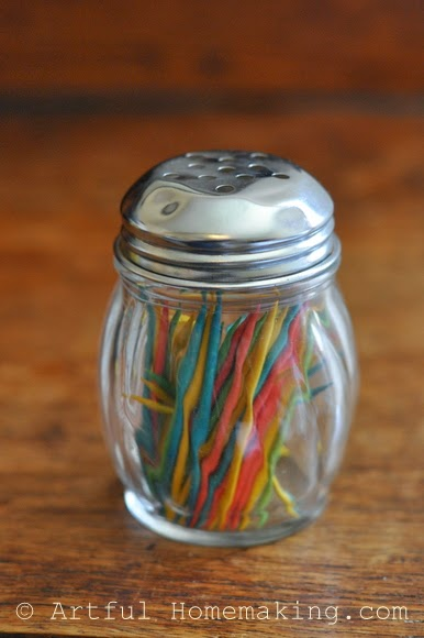 Fine Motor Coordination: Keeping Little Ones Hands Busy. A glass bottle with toothpicks