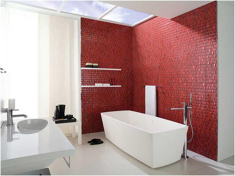 Bild Rot Im Badezimmer Form Rechteckige Freistehende Badewanne